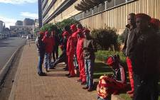 EFF members gather outside the Gauteng IEC results centre in Auckland Park. Thando Kubheka/EWN.