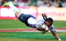 Alesana Tuilagi scores his second try during the Rugby match between Scotland and Samoa on 8 June 2013. Picture: AFP