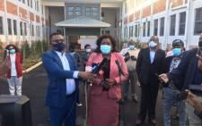 KZN Health MEC Nomagugu Simelane-Zulu briefs the media on 2 June 2020 ahead of the launch of a 275-bed quarantine site at Durban's Clairwood Hospital. Picture: Nkosikhona Duma/EWN.