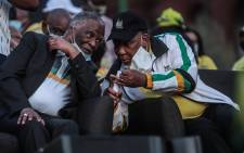Former Presidents Thabo Mbeki and Kgalema Motlanthe catch up at the ANC manifesto launch in Tshwane on 27 September 2021. Picture: Abigail Javier/Eyewitness News