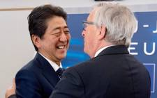 European Commission President Jean-Claude Juncker and Japan's Prime Minister Shinzo Abe celebrate concluding negotiations on reciprocal data adequacy. Picture: @JunckerEU/Twitter