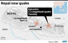 Map locating the epicentre of a 7.3-magnitude quake in Nepal on Tuesday. Source: AFP.