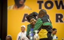 Nkosazana Dlamini Zuma and Cyril Rampaphosa embrace at the start of the ANC's 54th national conference on 16 December 2017. Picture: Thomas Holder/EWN