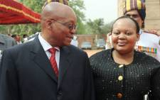 President Jacob Zuma talks with his wife Nompumelelo Ntuli-Zuma. Picture: AFP.