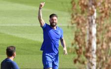Chelsea forward Olivier Giroud at a training session. Picture: @ChelseaFC/Twitter
