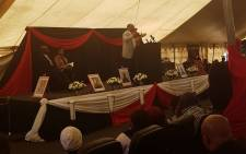Harmony Gold chairperson Patrice Motsepe speaks at the memorial service of the five dead Kusasalethu miners on 4 September 2017. Picture: @HarmonyGoldNews/Twitter