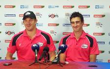 Sydney Sixers batsman Shane Watson and bowler Mitchell Starc after their CLT20 win over the Lions in Cape Town on 18 October 2012. Picture: Alicia Pillay/EWN