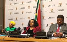 Environmental Affairs Minister Edna Molewa briefs the media on new rhino poaching statistics on 24 July 2017. Picture: Kevin Brandt/EWN