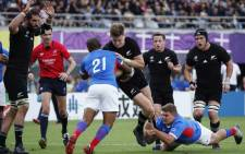 New Zealand's fly-half Jordie Barrett (C) scores a try during the Japan 2019 Rugby World Cup Pool B match between New Zealand and Namibia at the Tokyo Stadium in Tokyo on 6 October 2019.Picture: AFP