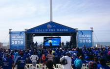 Hundreds of supporters gathered at the Donkin Reserve in Port Elizabeth for the launch. Picture: @DAEasternCape.