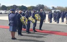 A wreath-laying ceremony took place ahead of the memorial service for Lieutenant-Colonel Charl Kinnear in Belhar on 30 September 2020. Picture: @SAPoliceService/Twitter