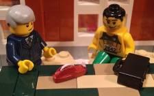 A Lego scene depicting Barry Roux and Oscar Pistorius in court. Picture: Lego Pistorius on Instagram.