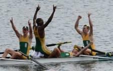 Olympic rowing winners Lawrence Ndlovu, Mathew Brittain, John Smith and James Thompson. Picture: AFP
