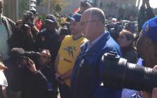 Democratic Alliance members went to Safa house in Soweto to picket, calling for Safa president Danny Jordaan to come clean on the Fifa $10 million bribery scandal. Picture: Vumani Mkhize/EWN.