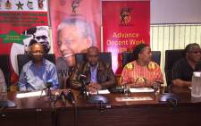 Cosatu President Sdumo Dlamini and members of the federation's leadership at a press conference at Cosatu House. Picture: Vumani Mkhize/EWN.