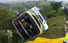 An emergency service official pictured in a bus after a crash in Chatsworth. Picture: @CICArsa