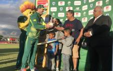 AB de Villiers was named Man of the Match in the second One-Day International against Bangladesh at Boland Park. Picture: @OfficialCSA/Twitter.
