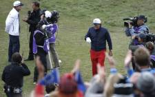 Phil Mickelson of Team US arrives on the first tee during Sunday's singles matches on the final day of the Ryder Cup golf tournament. Picture: AFP.