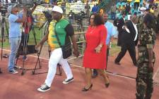 Nomvula Mokonyane arrives at ANCYL rally at the Germiston stadium on 4 April 2017. Picture: Masa Kekana/EWN