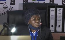 A YouTube screengrab of Judge Tintswalo Makhubele at the state capture commission of inquiry in Johannesburg on 3 August 2020.