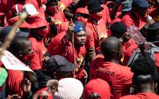 Thousands of Numsa members marched from Mary Fitzgerald Square in Newtown to the offices of the Metals and Engineering Industries Bargaining Council in Marshalltown on 5 October 2021. Picture: Xanderleigh Dookey Makhaza/Eyewitness News