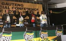 The Gauteng ANC's newly elected leadership from left Parks Tau, Nomantu Nkomo-Ralehoko, Panyaza Lesufi and David Makhura. Picture: Qaanitah Hunter/EWN