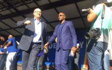 DA leader Mmusi Maimane and the Nelson Mandela Bay Mayor-elect Athol Trollip at the party's election celebration in Port Elizabeth. Venue: City hall. Picture: Xolani Koyana/EWN.