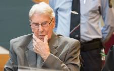 Former SS officer Reinhold Hanning sits at a court in Detmold, western Germany, on 17 June 2016, during the last day of his trial in what is expected to be one of the last Holocaust trials. Picture: AFP.