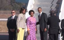 International Relations Minister Maite Nkoana-Mashabane bids farewell to the Obamas at Waterkloof Air Force base on 30 June 2013. Picture: Christa van der Walt/EWN