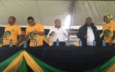 ANC NEC members Sihle Zikalala and Fikile Mbalula arrive for the 73rd-anniversary rally in Mandeni. Picture: Ziyanda Ngcobo/EWN.