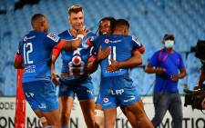 Bulls players celebrate a try during their Super Rugby Unlocked match against the Lions on 7 November 2020. Picture: @BlueBullsRugby/Twitter