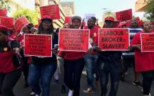 Workers and union members affiliated with Cosatu participate in an anti-state capture march in Johannesburg on 27 September 2017. Picture: Christa Eybers/EWN.