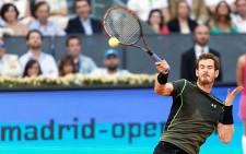 Andy Murray plays during the finals of the 2015 Madrid Masters. Murray beat Rafa Nadal 6-3 6-2 for the title. Picture: Mutua Madrid Open.