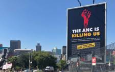 The amended DA billboard in Johannesburg on 22 January 2019. Picture: @Our_DA/Twitter