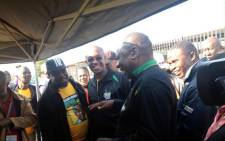 ANC Deputy President Cyril Ramaphosa with Johannesburg Mayor Parks Tau out in Soweto to cast their votes. Picture: Thando Kubheka/EWN.