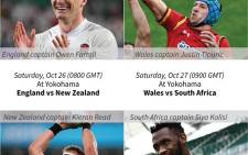 The four teams that will contest the 2019 Rugby World Cup semifinals in Japan on 26 and 27 October. Picture: AFP