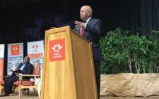 Former Finance Minister Pravin Gordhan speaks at the University of Johannesburg. Picture: Katleho Sekhotho/EWN