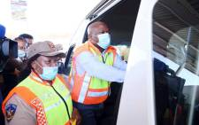 KZN Premier Sihle Zikalala and KZN MEC for Transport, Community Safety and Liaison Peggy Nkonyeni gearing up for the Easter weekend on the roads. Picture: Nkosikhona Duma/Eyewitness News.