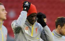 Liverpool forward Mario Balotelli at training session with his team mates as they prepare for the Champions League clash against Real Madrid. Picture: Official Liverpool Facebook page.
