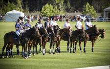 Prince Harry (Third from right) and other players line up before their exhibition match at Val de Vie estate in Paarl. Picture: Thomas Holder/EWN