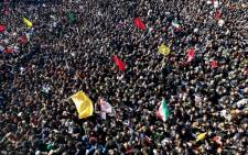 Iranian mourners gather during the final stage of funeral processions for slain top general Qasem Soleimani, in his hometown Kerman on 7 January 2020. Picture: AFP