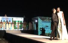 David Tlale on stage at his first show in the Ivory Coast. Picture: Leanne de Bassompierre/EWN.