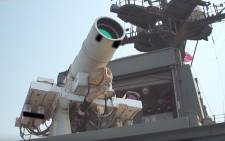 A screengrab of the US Navy's photon weapon.