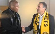 Giovanni Solinas (right) is introduced as the new coach of Kaizer Chiefs. Picture: Facebook.