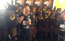 Graca Machel officially launched International Nelson Mandela Day celebration with learners from a Tembisa school. Picture: Thando Kubheka /EWN