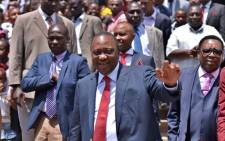 Kenya's ruling president and candidate to his own succession, Uhuru Kenyatta on 6August 2017 in the Nairobi suburb of Umoja. Picture: AFP.