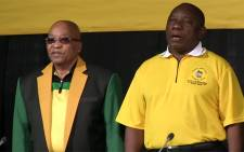 President Jacob Zuma and his deputy Cyril Ramaposa singing the national anthem at the NGC in Midrand. Picture: Kgothatso Mogale/EWN