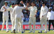 FILE: England's James Anderson celebrates a wicket. Picture: AFP
