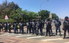 Police pictured at Wits University. Picture: EWN.