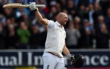 England's Adam Lyth celebrates his maiden test century on the second day of the second cricket test match between England and New Zealand at Headingley in Leeds, northern England, on 30 May, 2015. Picture: AFP